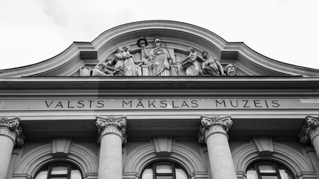 RIGA, LATVIA - SEPTEMBER 11, 2008: facade of Latvian National Museum of Art in Riga city. Museum keeps more than 52000 art works of the Baltic area and Latvia from the middle of the 18th century