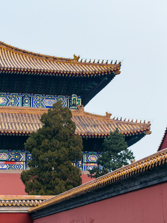 travel to China - dome of Hall for Worship of Ancestors in Imperial Ancestral Temple (Taimiao) in Beijing Imperial city in spring.
