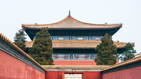 travel to China - gate to Imperial Ancestral Temple (Taimiao, Working Peoples Cultural Palace) in Beijing Imperial city in spring.