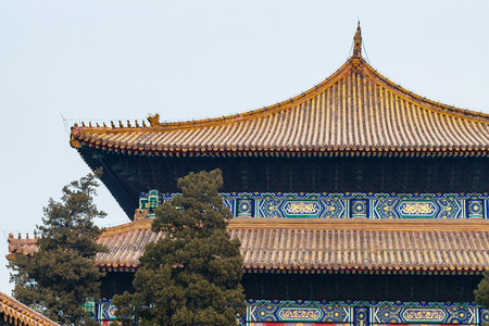 travel to China - decorated roofs of Hall for Worship of Ancestors in Imperial Ancestral Temple (Taimiao) in Beijing Imperial city in spring.