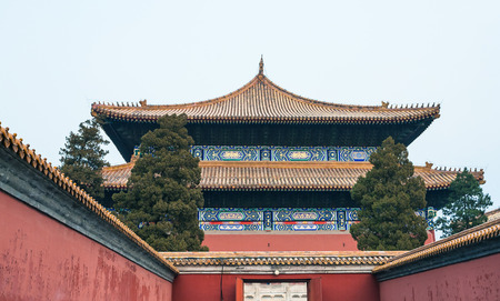 travel to China - entrance to Imperial Ancestral Temple (Taimiao, Working Peoples Cultural Palace) in Beijing Imperial city in spring. Stock Photo
