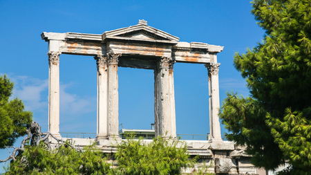 travel to Greece - view of Arch of Hadrian in Athens city Stock Photo