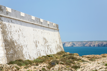Travel to Algarve Portugal - outside wall of Fortress of Sagres on Cape St. Vincent (Cabo de Sao Vicente) near Sagres town Stock Photo