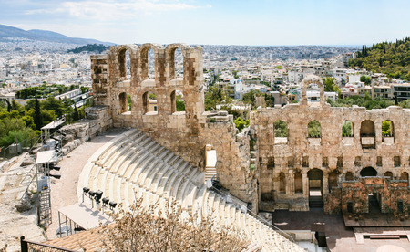 amphitheatre: travel to Greece - view of Odeon of Herodes Atticus stone theatre at Acropolis and Athens city