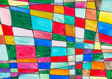 hand painted abstract multicolored checkered pattern drawn by watercolors on paper