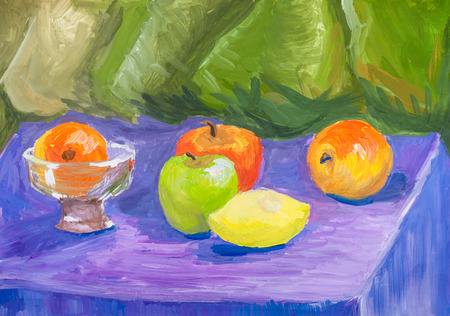 hand painted training color still-life with vase and fresh fruits on table drawn by watercolors on paper