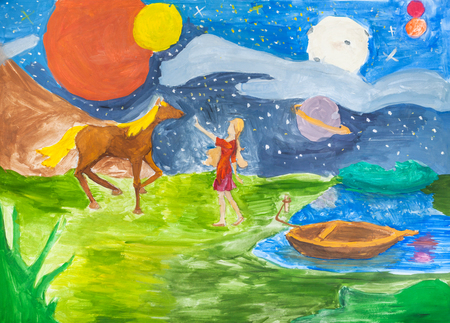 hand painted night landscape with girl and horse on riverbank drawn by watercolors on paper
