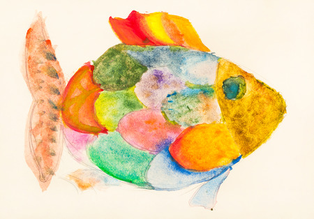 hand painted fish with multicolored scales drawn by watercolors on ivory colored paper