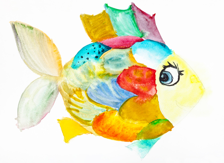 hand painted fanny fish with multicolored scales drawn by watercolors on white paper