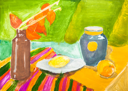 hand painted training color still-life with ceramic jugs and fruits on table drawn by watercolors on paper