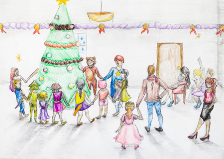 christmas tree illustration: hand painted sketch of round dance around Christmas tree in kindergarten drawn by colour pencil on white paper