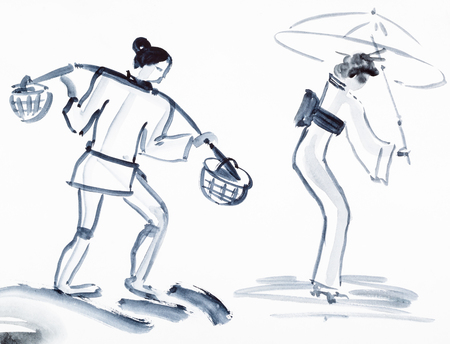 paper umbrella: training drawing in suibokuga style with watercolor paints - sketches of peasant with yoke and japanese woman with umbrella on white paper