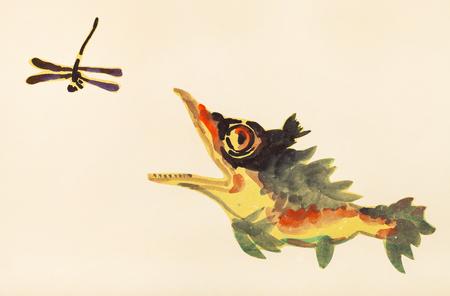 training drawing in suibokuga style with watercolor paints - perch fish hunts for dragonfly on ivory colored paper