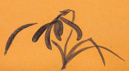 training drawing in suibokuga style with watercolor paints - sketch of iris flower on orange colored paper Stock Photo