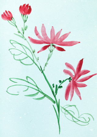 training drawing in suibokuga style with watercolor paints - red flowers on blue colored paper Stock Photo