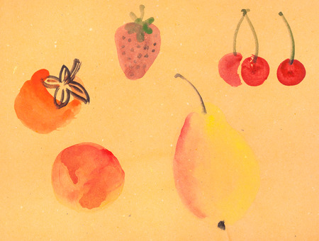 brushstroke: training drawing in suibokuga style with watercolor paints - various fruits on yellow colored paper