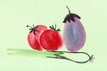 training drawing in suibokuga style with watercolor paints - fresh vegetables on green colored paper