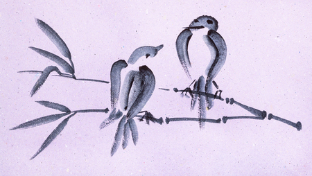 training drawing in suibokuga style with watercolor paints - sketches of birds on twig on pink colored paper Banco de Imagens