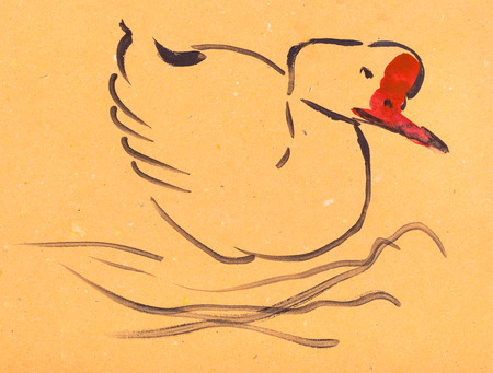 training drawing in suibokuga style with watercolor paints - sketch of goose on orange colored paper