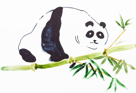 training drawing in suibokuga style with watercolor paints - panda on bamboo trunk on white paper