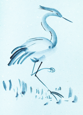 training drawing in suibokuga style with watercolor paints - heron bird on blue colored paper