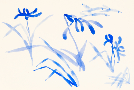 training drawing in suibokuga style with watercolor paints - sketches of blue flowers on ivory colored paper