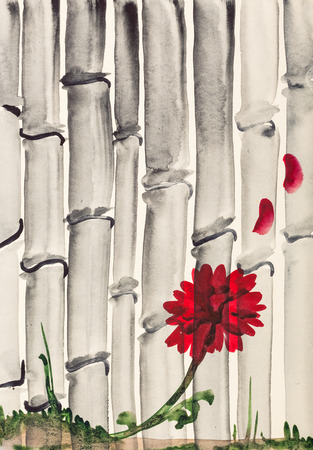 training drawing in suibokuga style with watercolor paints - red chrysanthemum flower and bamboo grove on ivory colored paper