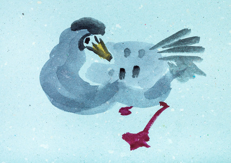 training drawing in suibokuga style with watercolor paints - wild goose on blue colored paper