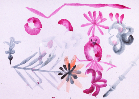 training drawing in suibokuga style with watercolor paints - various sketches on pink colored paper