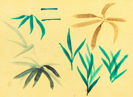 training drawing in suibokuga style with watercolor paints - sketches of grass on yellow colored paper