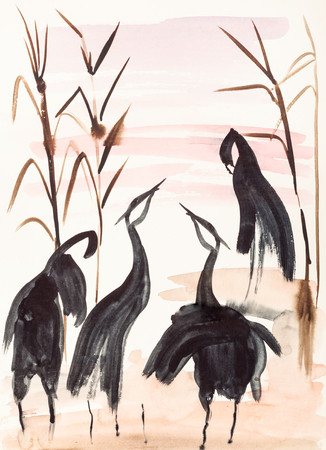pink and brown background: training drawing in suibokuga style with watercolor paints - Cranes on the lake shore at sunset on ivory colored paper