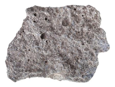 천연 화성암 - 다공성 현무암 돌의 조각의 매크로 촬영 러시아에서 흰색 배경에 고립의 조각