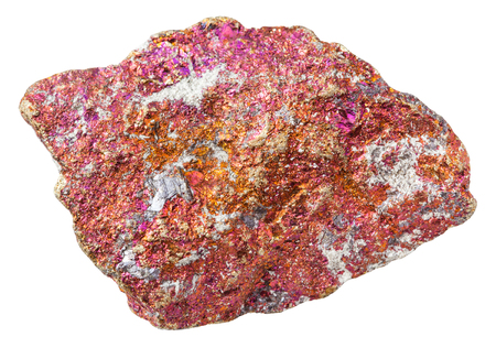 macro shooting of specimen of natural mineral rock - piece of red Chalcopyrite stone (copper pyrite) isolated on white background from Mexico Stock Photo