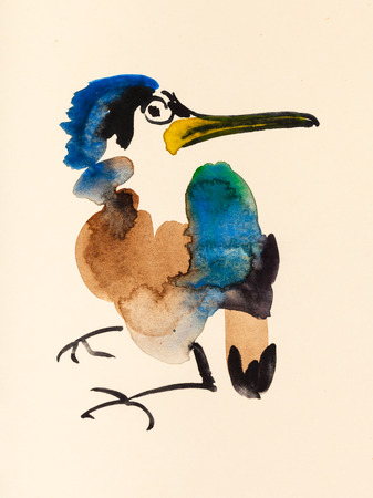 training drawing in suibokuga sumi-e style with watercolor paints - kingfisher bird hand painted on cream colored paper