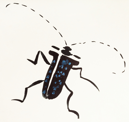 training drawing in suibokuga sumi-e style with watercolor paints - long-horned beetle hand painted on cream colored paper