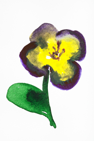 training drawing in suibokuga sumi-e style with watercolor paints - pansy flower hand painted on white paper Stock Photo