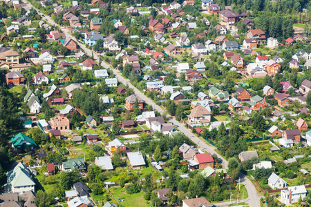 above view of rural houses in Moscow Region near Nakhabino settlement of Krasnogorsk town in summer day