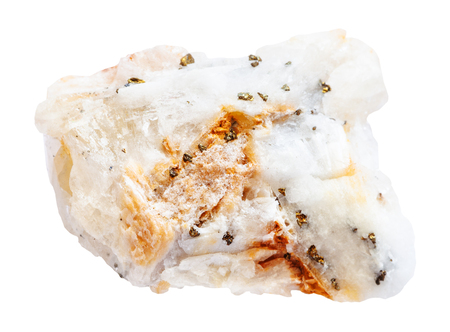 gemmology: macro shooting of natural mineral stone - specimen of quartz rock with natural gold pieces isolated on white background