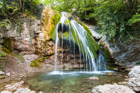 travel to Crimea - view of Ulu-Uzen river with Djur-djur waterfall in Haphal Gorge of Habhal Hydrological Reserve natural park in Crimean Mountains in september