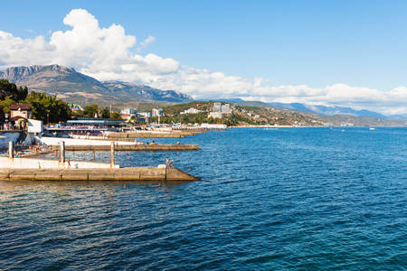 travel to Crimea - view of waterfront along embankment in professors corner in Alushta city