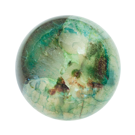 macro shooting of natural mineral stone - crystalline surface of broken ball from polished green Agate gemstone isolated on white background Stock Photo