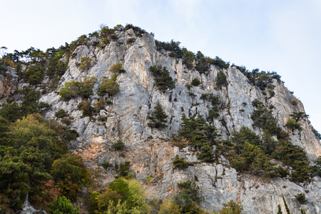 travel to Crimea - view of Ay Nicola mountain in Oreanda district in autumn Stock Photo