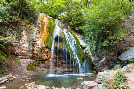 travel to Crimea - Ulu-Uzen river with Djur-djur waterfall in Haphal Gorge of Habhal Hydrological Reserve natural park in Crimean Mountains in september