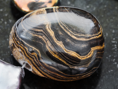 macro shooting of natural mineral rock specimen - pendant from Stromatolite gemstone on dark granite background Stok Fotoğraf