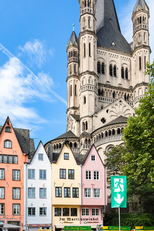 st german: COLOGNE, GERMANY - SEPTEMBER 17, 2017: facades of medieval houses on Fischmarkt area in Cologne city in september. First Fish Market between Lintgasse and Muhlengasse goes back to 1100 years