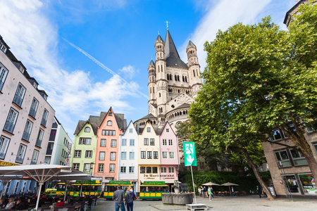 COLOGNE, GERMANY - SEPTEMBER 17, 2017: tourists at Fischmarkt square in Cologne city in september. First Fish Market between Lintgasse and Muhlengasse goes back to 1100 years