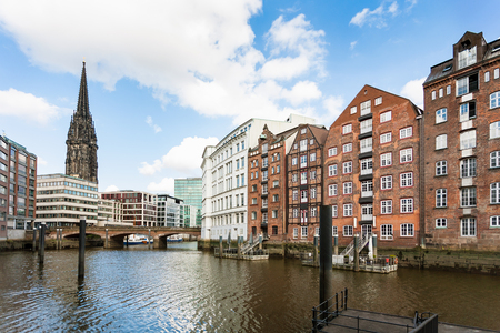 Travel to Germany - view of houses on waterfront of Nikolaifleet canal near Deichstrasse in Hamburg city downtown in september Stock Photo
