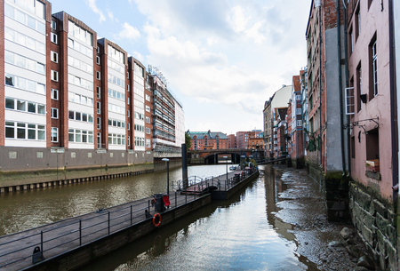 Travel to Germany - view of Nikolaifleet canal near Deichstrasse in Hamburg city downtown in september