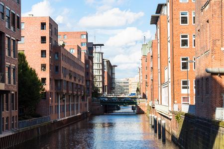 Travel to Germany - view of Herrengrabenfleet canal and Pulverturmsbrucke bridge in Hamburg city downtown in september