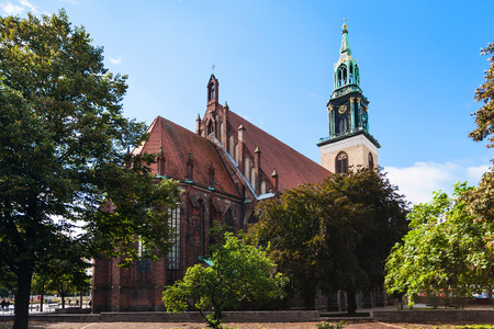 st german: travel to Germany - view of St Marys Church (Marienkirche) in Berlin city in september